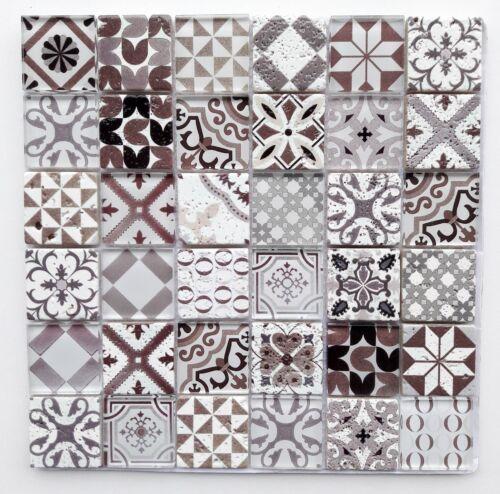 Glasmosaik Naturstein Mosaik Marmerie Autumn 30x30cm; Steinchen 5x5cm braun grau