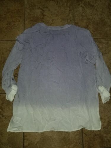 New Womens Bandolino Shirt Trudy Top Purple Blue Green Cream Roll Sleeve Shirt