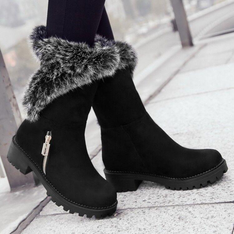 Femme Plat Talon Bas Hiver Fourrure Neige Cheville Bottes Côté Fermeture Éclair Chaud Chaussures Taille 2-8