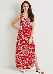 Red-and-White-split-Skirt-Beach-To-Bar-Summer-Maxi-Dress-Size-12