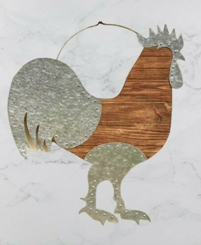"""Rooster Farm Life Home Collection 21/"""" X 19/"""" Wood Plank Galvanized Metal Accents"""