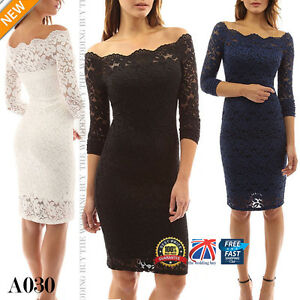 Womens-Scalloped-Off-Shoulder-Party-Long-Sleeve-Midi-Lace-Bodycon-Dresses-A030