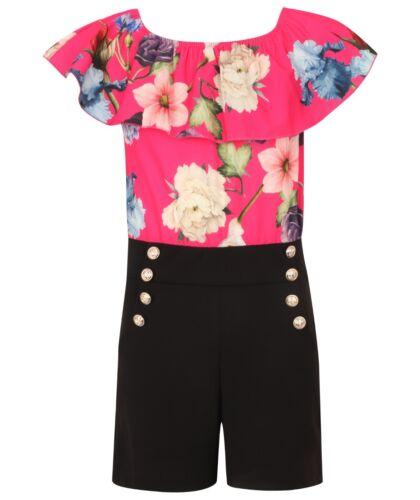 Fille//enfants d/'été à volants Jouer Costume Combinaison Rose Coloré Floral Noir fashion