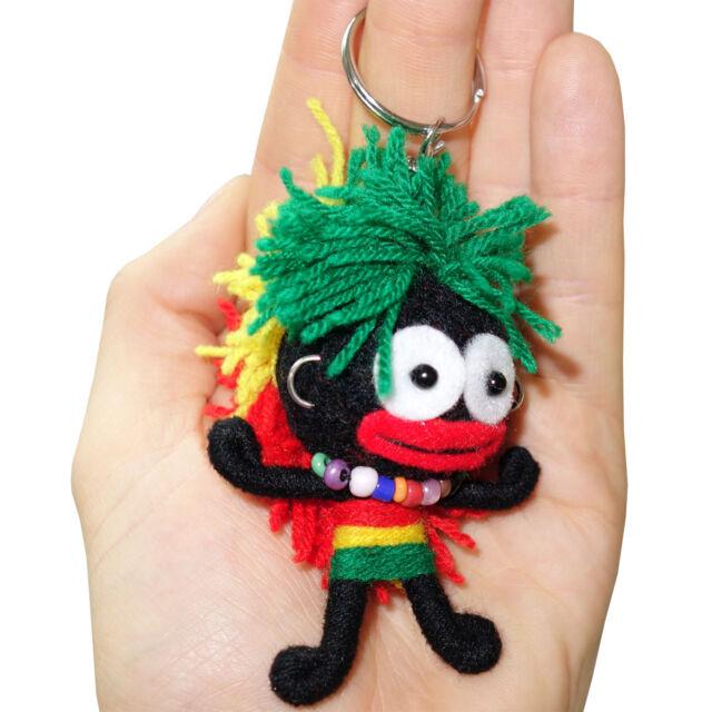 2 X Reggae Rasta Music Voodoo Doll Keyrings Wearing Necklace Earrings Bob Marley