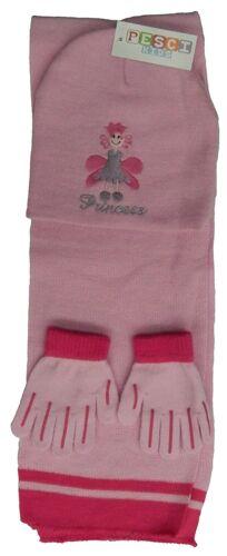 Girls Princess Pink Knitted Beanie Hat Glove Scarf Set Pink 3-6 Years