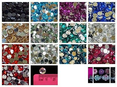 8mm Round Sew on Jewel Gem Beads 24pcs with a Silver Flat Back 2 Hole A1 Quality