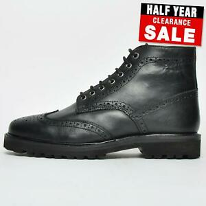 save £60 - Frank Wright Pine Men's Leather Brogue Casual Designer Dress Boots