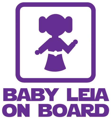 Star Wars Bebé Leia a bordo vinilo autoadhesivo con Para Coche Furgoneta portátil Tablet Pared