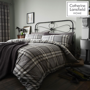 Catherine-Lansfield-Duvet-Set-Reversible-Check-Bedding-Charcoal-Pillows-Curtain