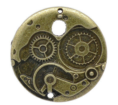 10PCs Charm Pendants Round Mechanical Gear Clock Bronze Tone 38mm Dia