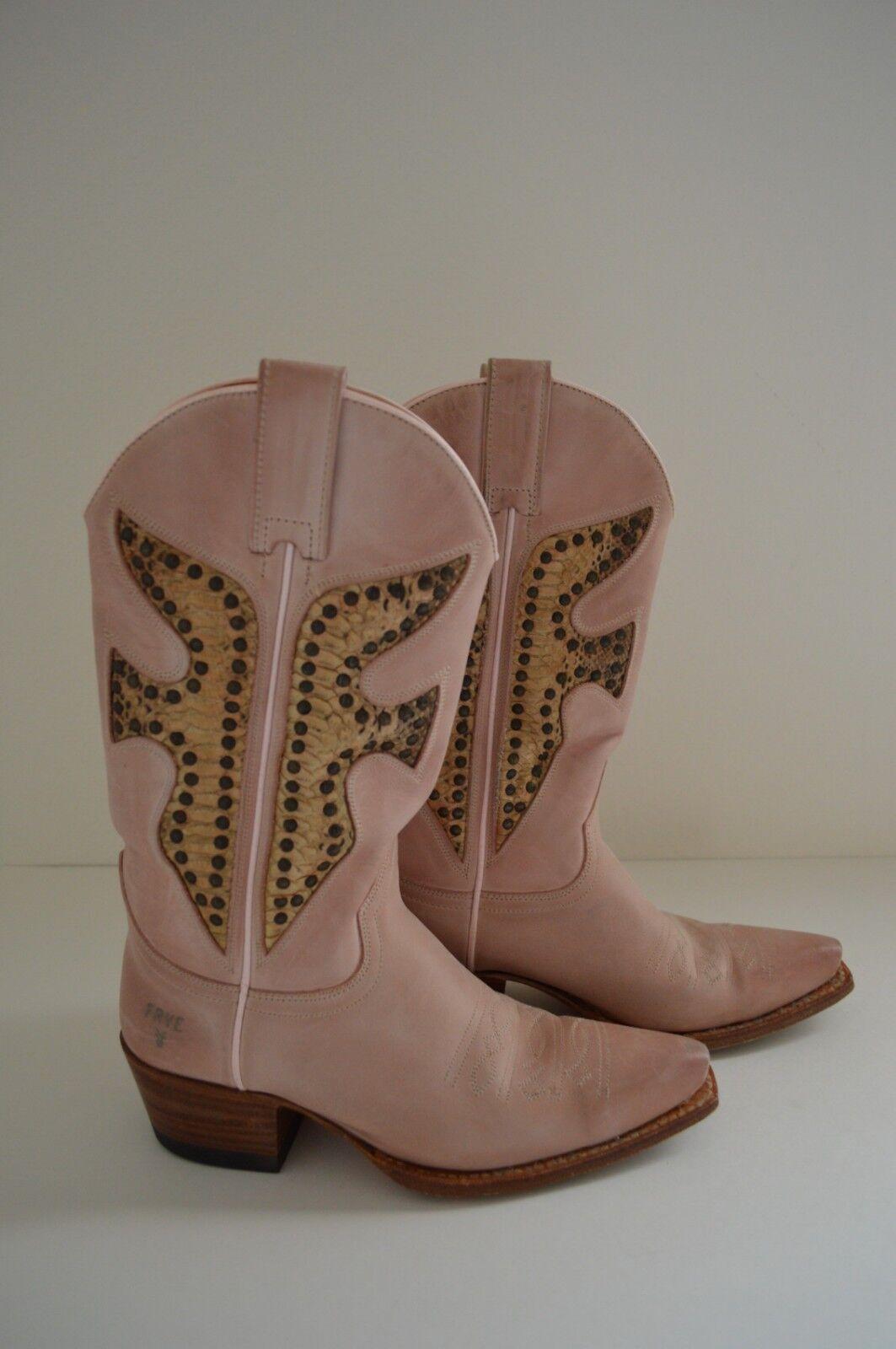 5. 5.5 FRYE Daisy Duke PINK Tan Python Snake Inlay Stud Leder Cowboy Stiefel