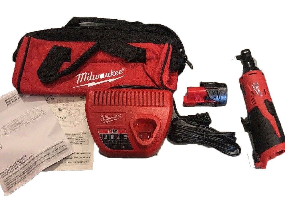 Brand New Milwaukee 12-Volt Cordless 3/8 in. Ratchet Kit 2457-21 1.5 Battery