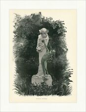 M. Gasteiger. Brunnengruppe Garten Statue Wasser Spucken Säule Holzstich E 8785