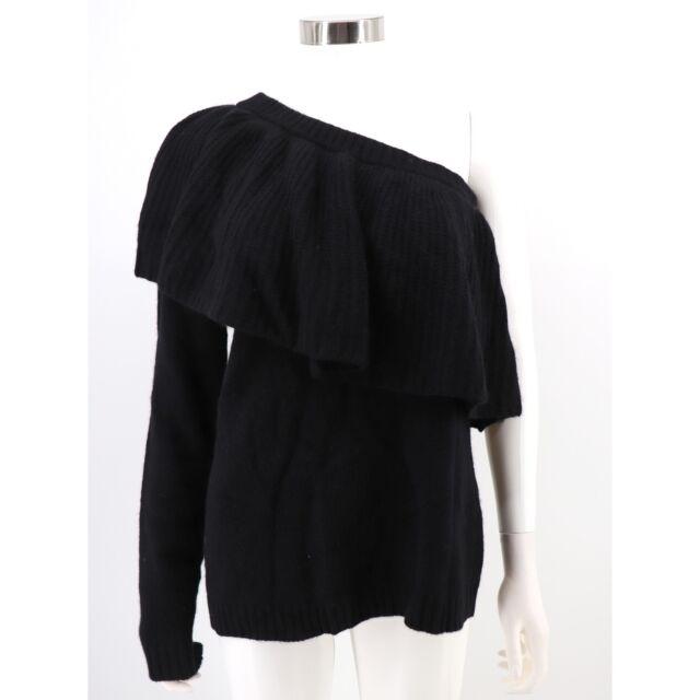 Aqua 100% Cashmere NWT Sweater Medium Black One-Shoulder Ruffle Flounce Womens
