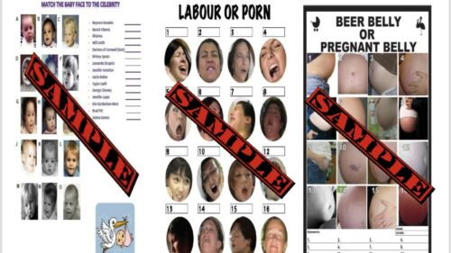 Labour Or Porn Beer Or Pregnant Belly,Guess The Celeb Baby Shower Game Bundle