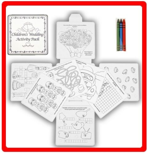 Children/'s Wedding Activity Fun Drawing Colouring 16 Page Puzzle Pack