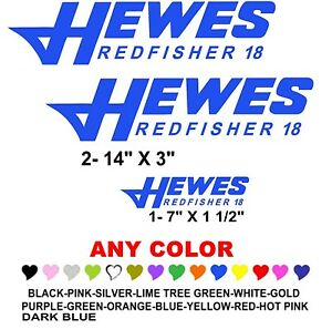 HEWES REDFISHER Boat Stickers Decals ANY COLOR FISH FISHING - Sporting boat decalsboston whaler decals ebay