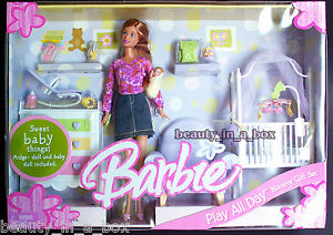 Image Is Loading Midge Amp Baby Barbie Doll Nursery Denim Play
