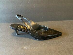 Zara Kitten Heel Sling Back Stiletto Women Size 35 US 5 Black Leather Reptile