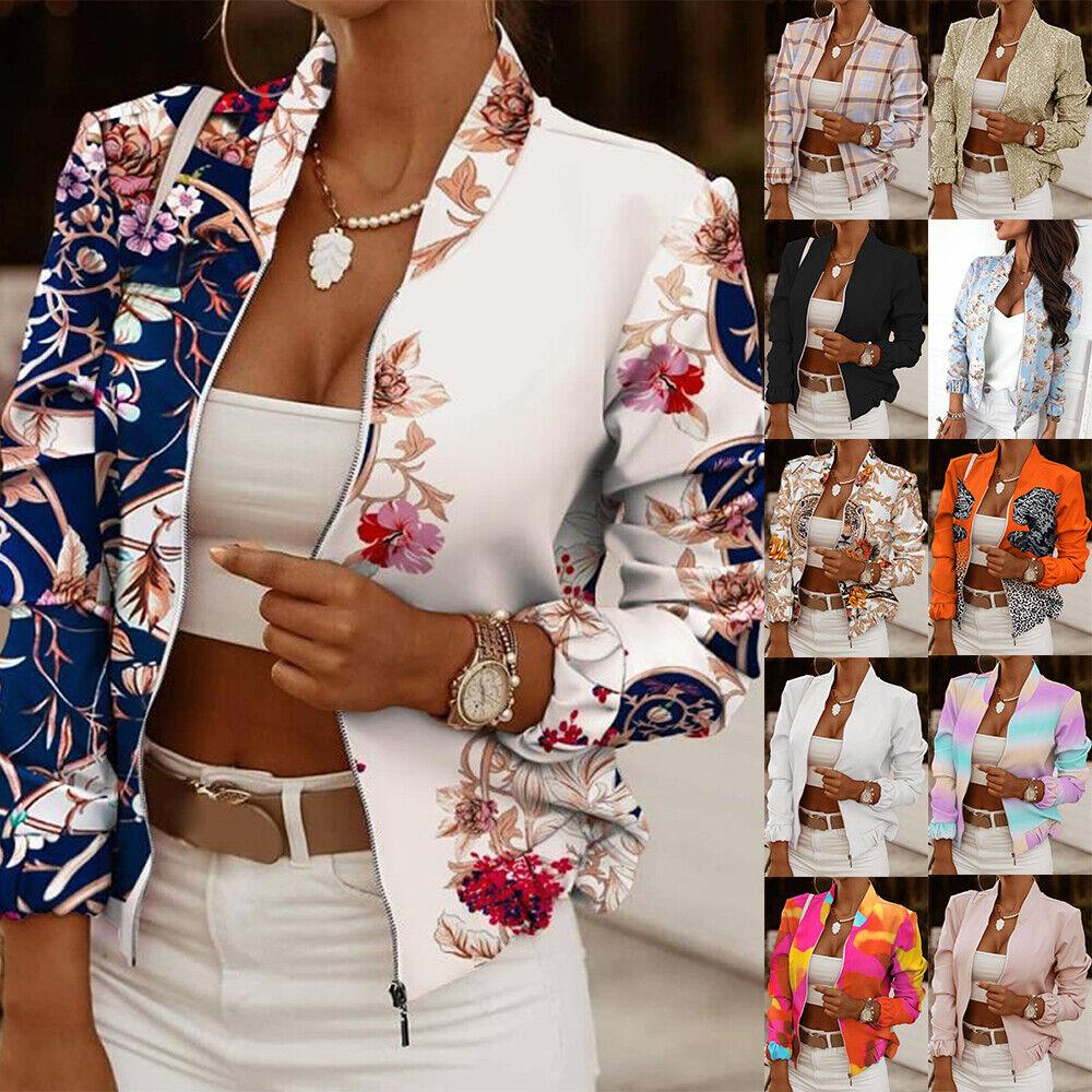 Womens Zip Floral Print Jacket Ladies OL Office Blazer Casual Crop Coat Outwear