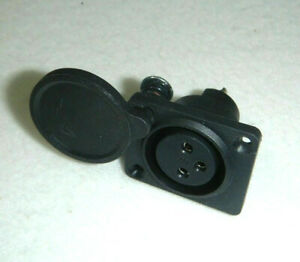 2-Stueck-XLR-Einbaubuchse-3-pol-mit-Abdeckung-Elektro-Scooter-Ladebuchse