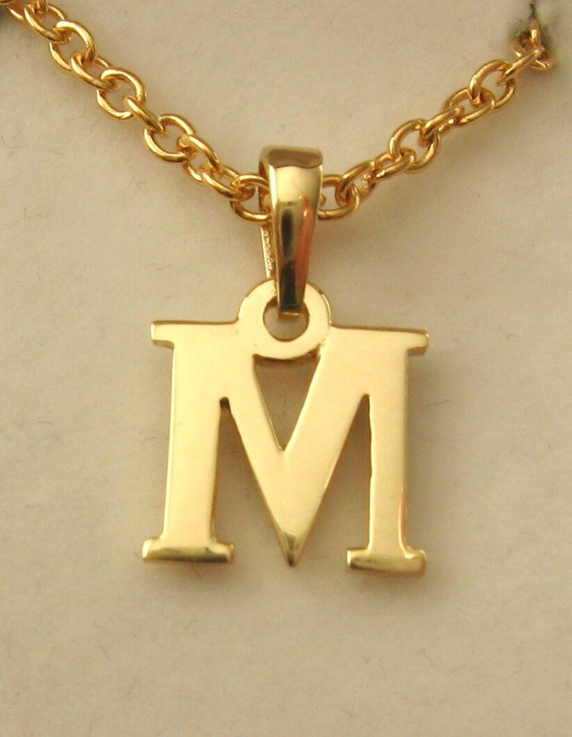 GENUINE 9K  9ct  SOLID  gold  INITIAL  M  LETTER  ALPHABET PENDANT