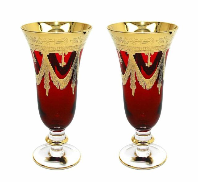 b8e889429f8e Interglass Italy Set of 2 Crystal Red Champagne Glasses, 24K Gold-Plated  Flutes