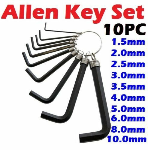 10PC Metric Hex Hexagon Allen Key Set  Wrench Set 1.5mm-10mm With Keyring