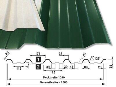10,53 €//qm Sonderposten Trapetzbleche 35 207 Profilblech Dachplatte 0,5mm grün