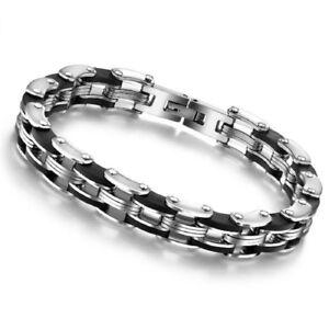 Herren-Edelstahl-Armband-Fahrradkette-Motorradkette-Biker-Kette-Schwarz-Silber