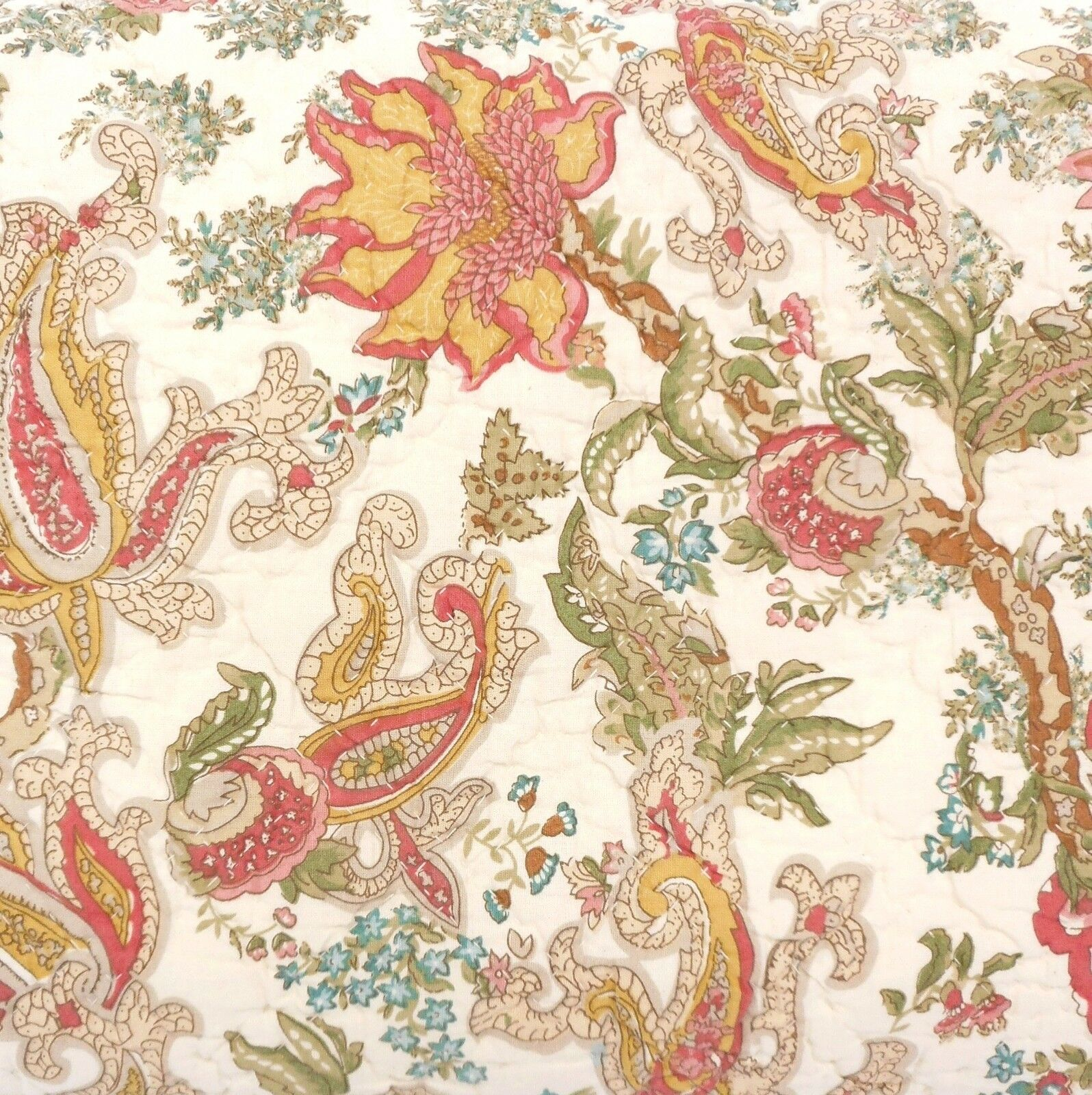 NOBLE EXCELLENCE Villa Ciara QUEEN QUILT SET 3p PAISLEY oro rosso COLONIAL FLORAL