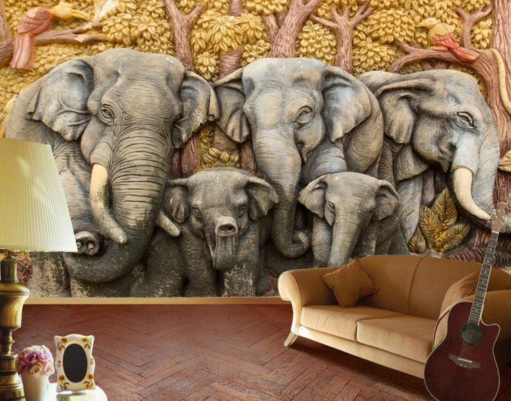Elephant Relief 3D 520 Wall Paper Print Wall Decal Wall Deco Indoor Wall Murals
