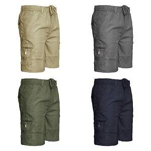 Para-Hombre-Ligero-3-4-La-Rodilla-Cintura-Elastica-De-Carga-De-Combate-Cortos-Talla