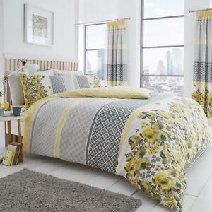 Saphira-Jaune-Gris-King-Size-Set-Housse-de-Couette-Reversible-Treillage-Floral