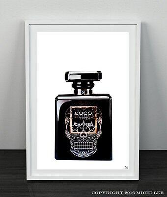 Coco Chanel NOIR A4 sugar SKULL perfume bottle Poster Print Home Decor Art A4