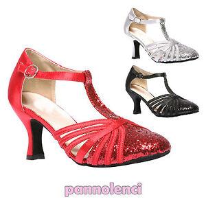 Scarpe-ballo-decollete-danza-glitter-listini-tango-salsa-merengue-Y1381