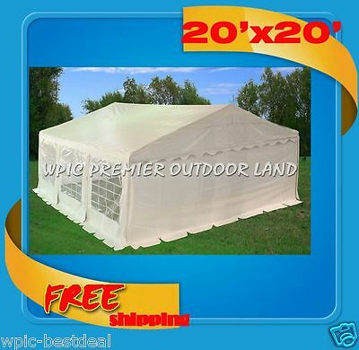 20' x 20' Heavy Duty Carport Party Tent Canopy Car Shelter w walls - White
