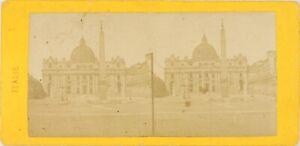 Italia Roma, La Place Saint-Pierre, Foto Stereo Vintage Albumina Verso 1865