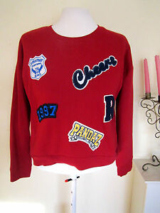 da79a987259479 LADIES WINTER FLEECE LINE FUNKY BADGES JUMPER CROP TOP SIZE10 RED ...