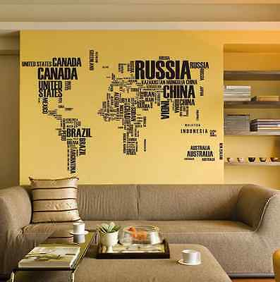 Large world map in words removable vinyl wall sticker decal mural large world map in words removable vinyl wall sticker decal mural art home decor gumiabroncs Images