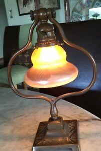 Tiffany Antique Table Lamp Gold Pulled Feather Bronze