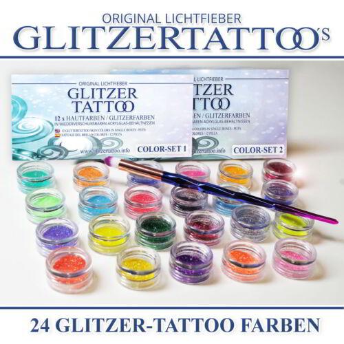 24 Glitzer Tattoo Farben für Glitzetattoos Farben Puder für Glitzertattoos