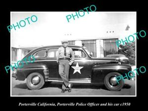OLD-LARGE-HISTORIC-PHOTO-OF-PORTERVILLE-CALIFORNIA-POLICE-PATROL-CAR-c1950