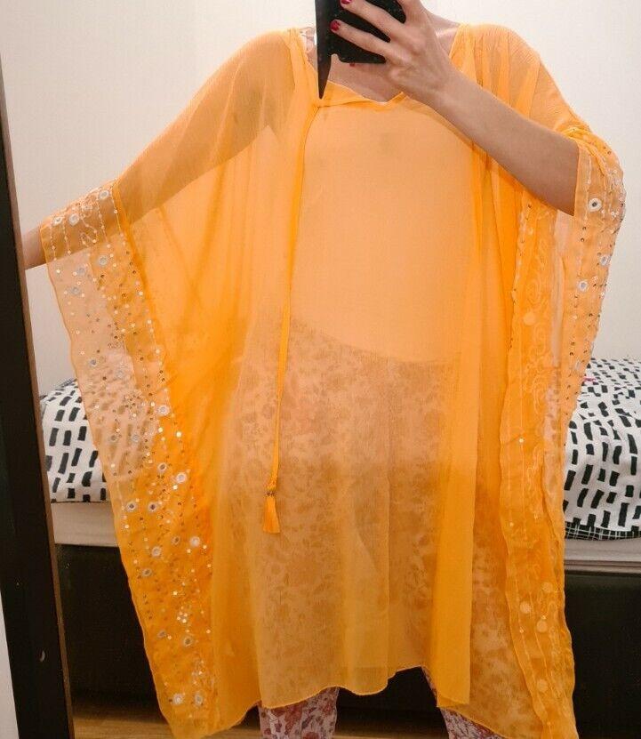 New Women Bat Sleeve Abaya Ethnic Hooded Dress Shiny Flake Kaftan. Size M