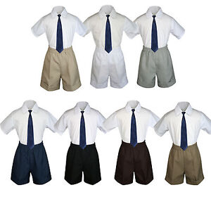 3pc Set Boy Toddler Formal Navy Clip on Necktie Black Dark Khaki Shorts S-4T