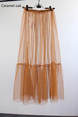 Women Lace Mesh Transparent Skirt Ruffle Half Slip Petticoat See Through Dress