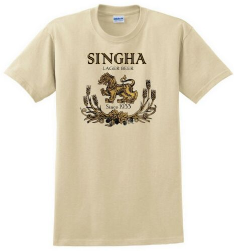 Singha Beer T-shirt.Thailand Gray,Khaki,White,Yellow S-XXXL Free Ship to USA