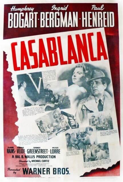 CASABLANCA - Canvas Print Movie Poster.