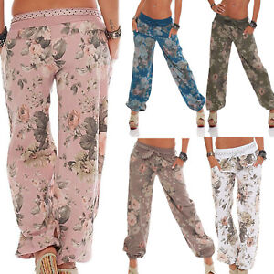 bfbe7d2a6fd58 Womens Ali Baba Hippie Harem Floral Printed Trousers Plus Size Loose ...