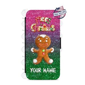 Merry-Christmas-Gingerbread-Man-Wallet-Flip-Phone-Cover-For-iPhone-Samsung-etc